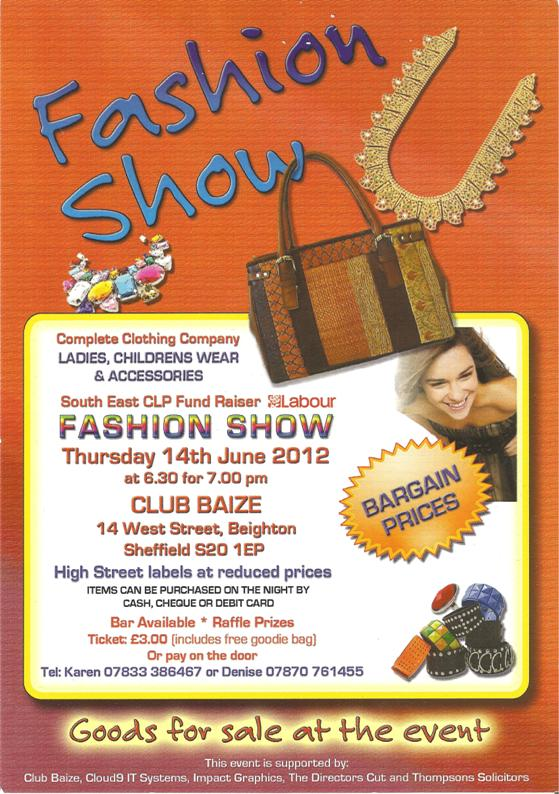 South East Sheffield CLP Fashion Show Leaflet