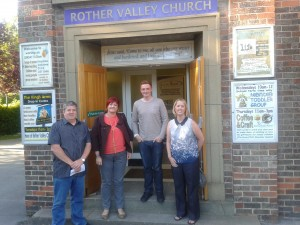 Cllr Bryan Lodge, Cllr Denise Fox, Chris Jeavons (Senior Pastor) and Cllr Karen McGowan outside Rother Valley Church on Spa View Road