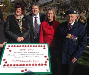 Cllr Fox, Lodge and McGowan with local resident and veteran Bill Carlin